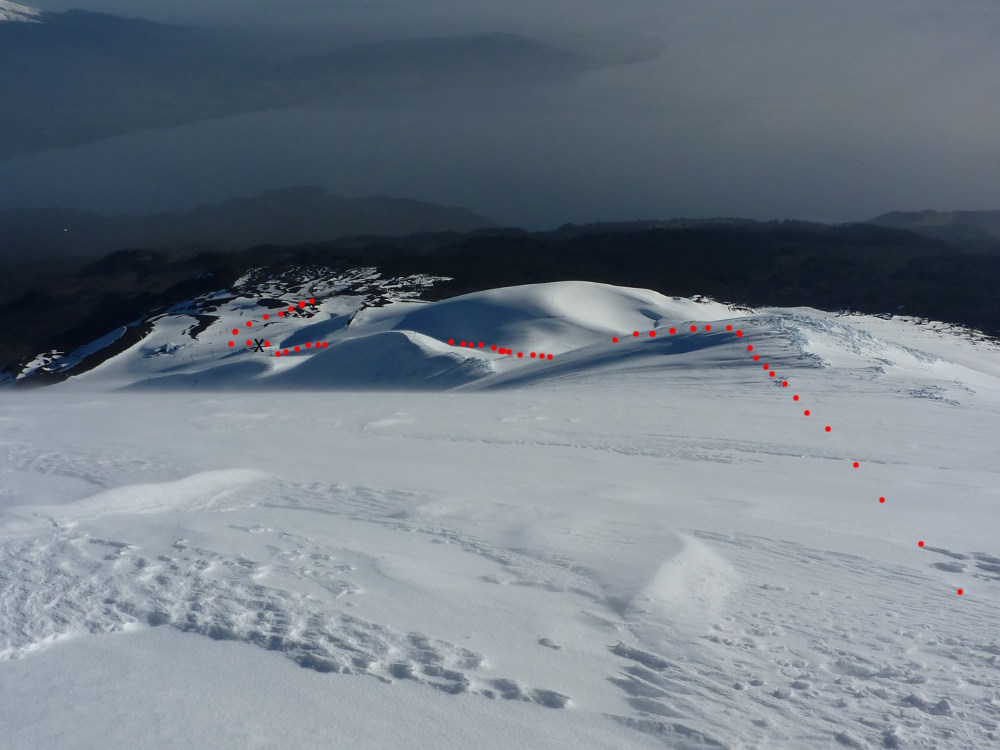 On the summit cone, looking down to the ski area, showing the return route.  X marks the top of the chairlift.